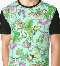 Rainforest Friends - watercolor animals on mint green Graphic T-Shirt