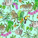 Rainforest Friends - watercolor animals on mint green by micklyn
