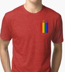 Gay LGBT Pride Lesbian Flag Pocket Rainbow Unity Gift Shirt For Men, Women, and Kids Tri-blend T-Shirt