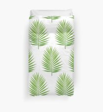 Palm leaf silhouette seamless pattern. Tropical leaves Duvet Cover