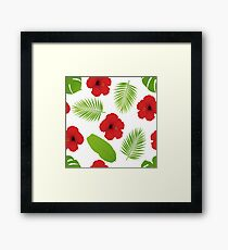 Red hibiscus and palm leaves seamless pattern Framed Print