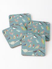 Oiseaux Alphabetiques -  A to Z birds - papercuts Coasters