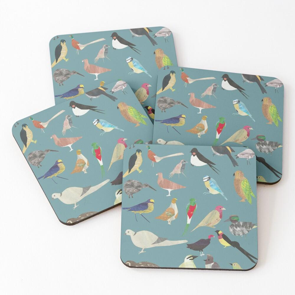 Oiseaux Alphabetiques -  A to Z birds - papercuts Coasters (Set of 4)