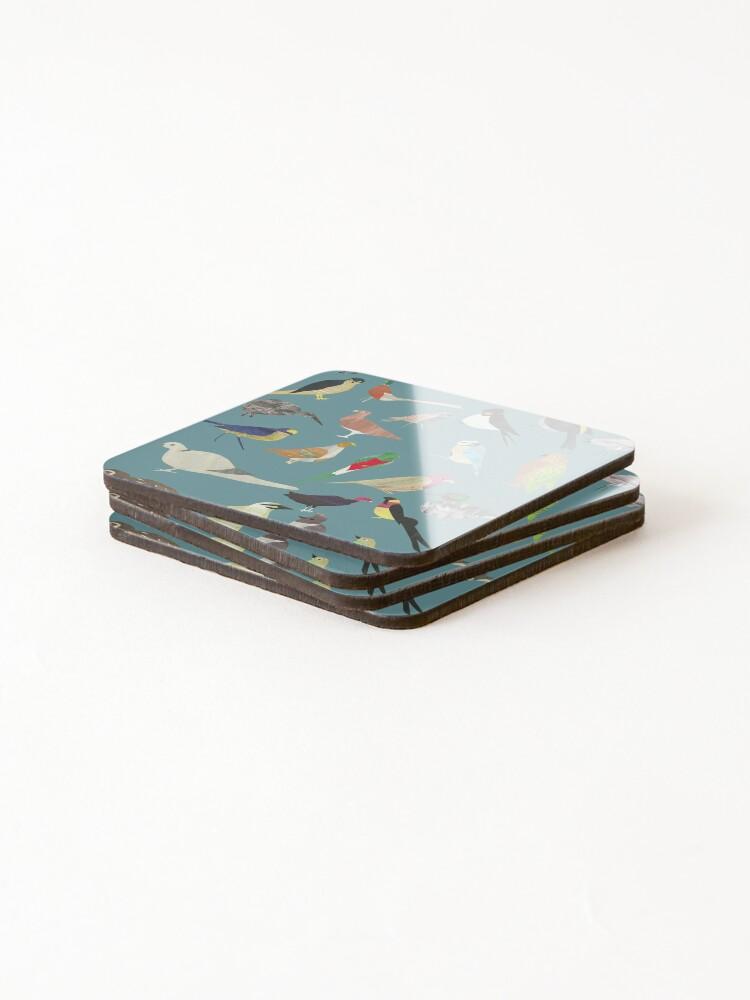 Alternate view of Oiseaux Alphabetiques -  A to Z birds - papercuts Coasters (Set of 4)