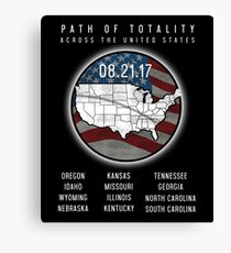 USA Eclipse 2017 - Path Of Totality Across the US Canvas Print