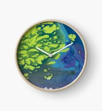 Blue and Green Marble Print Clock