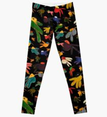 Multicolor Hummingbirds on Black Leggings