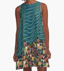 Fisherman's Village - Cobalt A-Line Dress