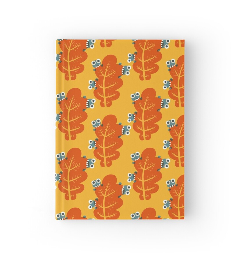Cute Bugs Eating Autumn Leaves Hardcover Journals