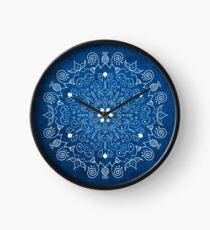 Mandala Blue Clock