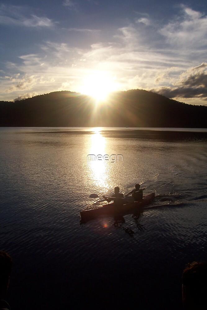 sunset river water kayak by meegn