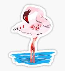 Flamingo In Water Sticker