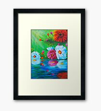 Restful Reflection of a daisy Framed Print