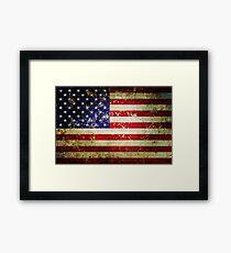 Grunge Vintage Aged US Flag Framed Print