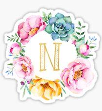N Pink Floral Sticker