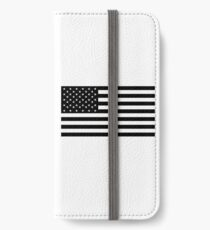 American Flag, STARS & STRIPES, USA, America, Black on white iPhone Wallet/Case/Skin