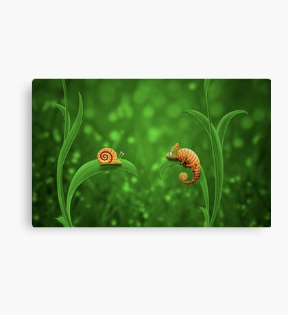 Snail and Chameleon Canvas Print
