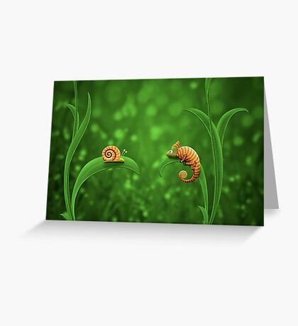 Snail and Chameleon Greeting Card