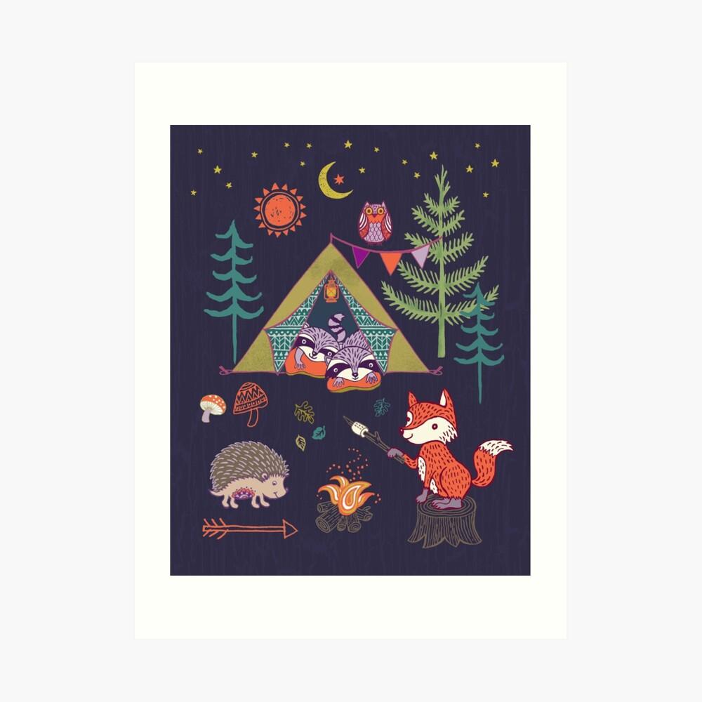 Woodland Animals Campout Art Print
