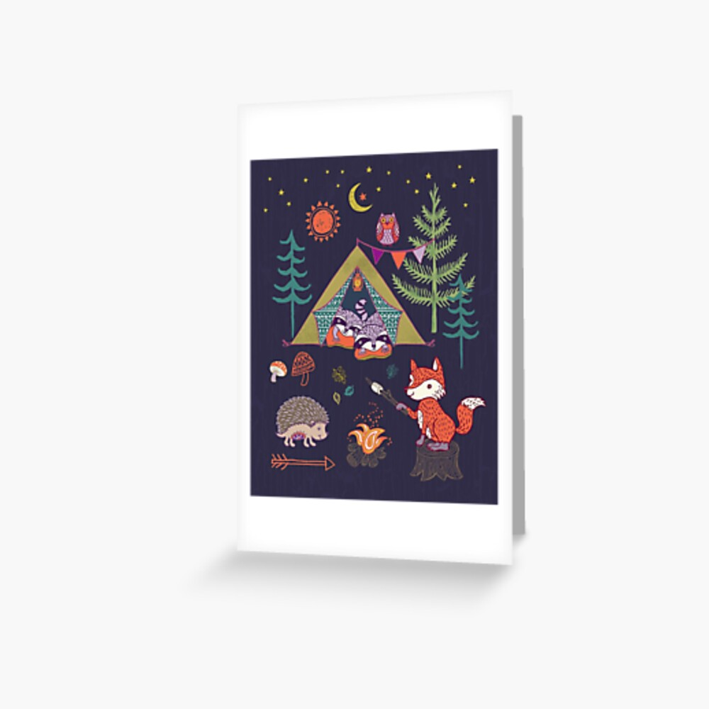 Woodland Animals Campout Greeting Card