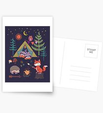 Woodland Animals Campout Postcards
