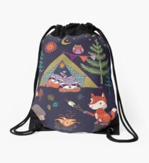 Woodland Animals Campout Drawstring Bag