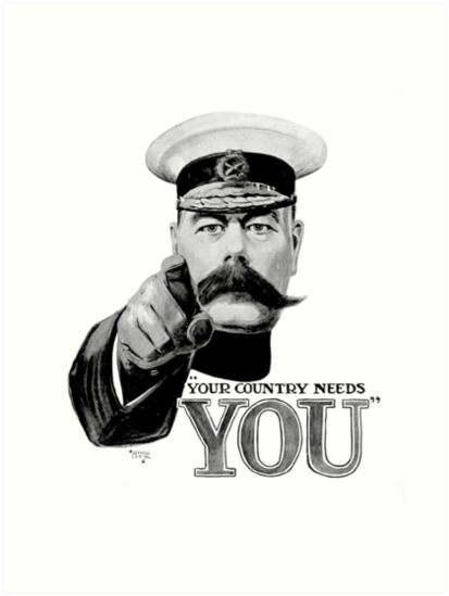 World War One Lord Kitchener Ww1 Your Country Needs You Recruitment Poster