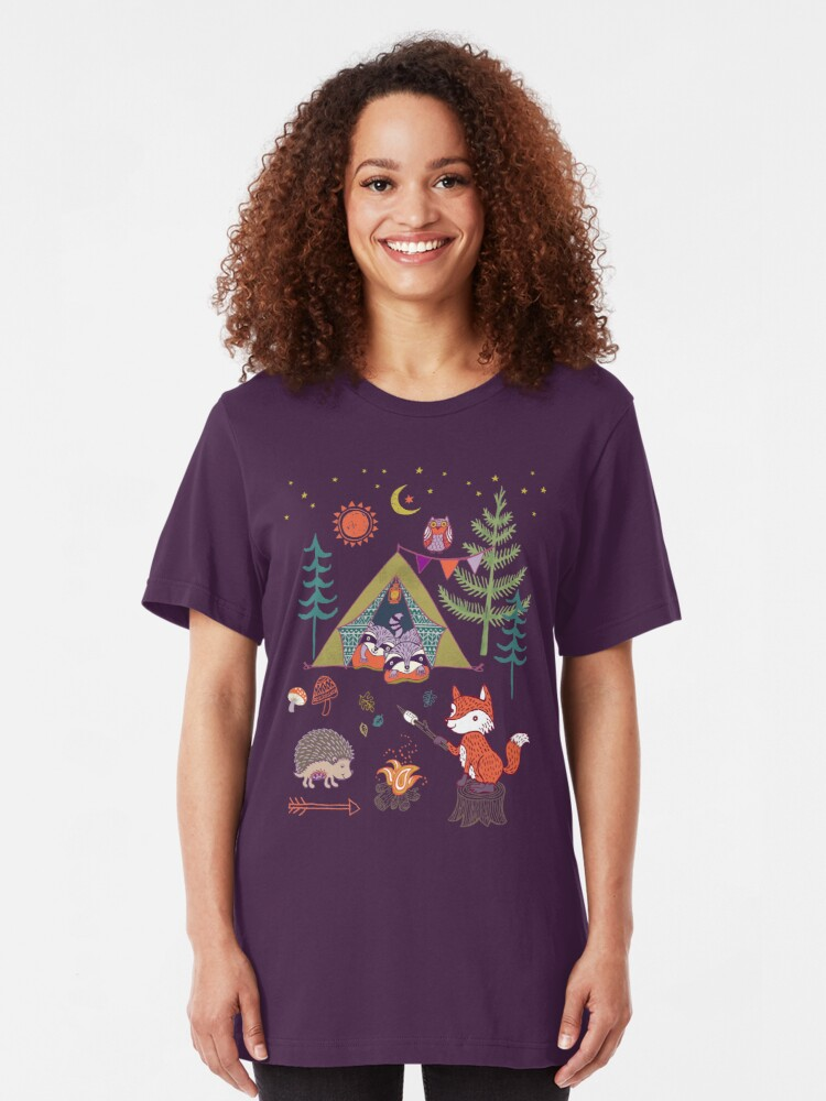 Alternate view of Woodland Animals Campout Slim Fit T-Shirt