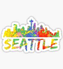 Seattle Washington Paint Splash Splatter Skyline Design Sticker