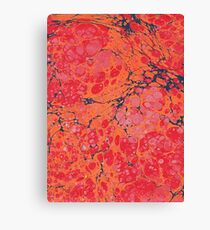 Marbled paper reds and orange Canvas Print