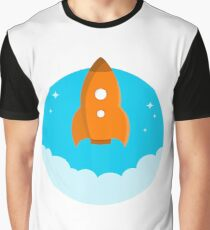 Fantasy Rocket Ship Cartoon  Graphic T-Shirt
