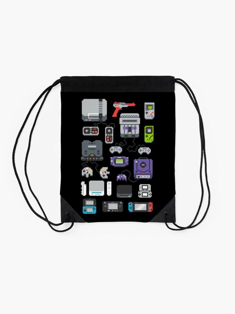 Alternate view of Super Pixel of my Childhood Drawstring Bag