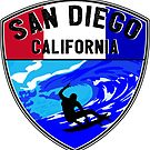 SURFING SAN DIEGO SURF CALIFORNIA SURFER'S PARADISE BEACH SURFBOARD 3 by MyHandmadeSigns