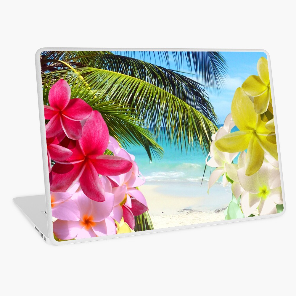 Tropical Beach and Exotic Plumeria Flowers Laptop Skin