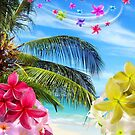 Tropical Beach and Exotic Plumeria Flowers by BluedarkArt