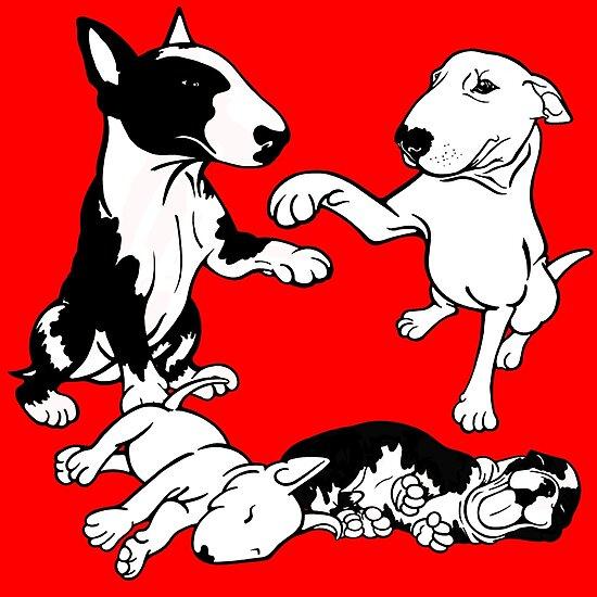 English Bull Terrier Family  by Sookiesooker