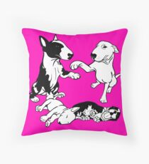 English Bull Terrier Family  Throw Pillow