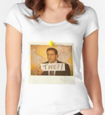 The Office - Michael Scott Funny Thief Photo - Graphic Design Women's Fitted Scoop T-Shirt
