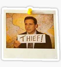 The Office - Michael Scott Funny Thief Photo - Graphic Design Sticker