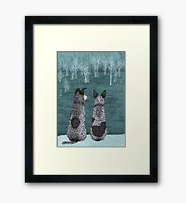 Australian Cattle Dogs, Blue Heelers (The Lookouts), by Artwork by AK Framed Print