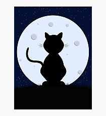 Cat Silhouette Moonlight Photographic Print
