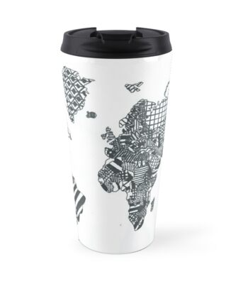 Patterned world map travel mugs by luckylucy redbubble patterned world map by luckylucy sciox Image collections