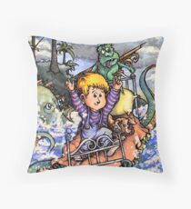 Sailing the Crazy Bed Boat Through Craziness. (Which is pretty crazy) Throw Pillow