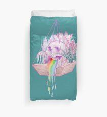 Regenbogen-Schädel-saftiger Kristallgarten Bettbezug