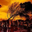 Dunkler Mond über dem Friedhof von Evita