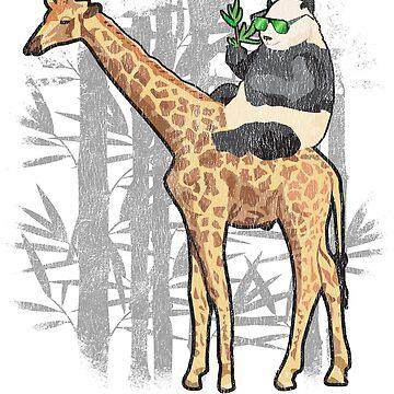 Panda Riding Giraffe Shirt - Funny Panda Bear Riding a Giraffe  by Teekittykitty