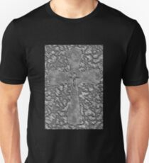 Engraved Style Cross on Stone Camo Rock Unique Crucifix T-Shirt