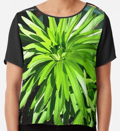 Green and Gorgeous - Sunlit Lily Leaves Chiffontop