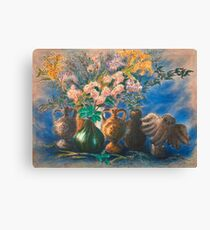 Vases and Flower Still-life with Owl Canvas Print