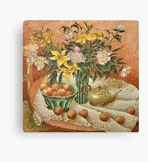 Linen Tablecloth with Rolling Apples Canvas Print